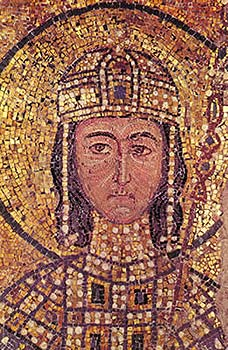 The Emperor Alexius I Comnenus portrayed in a mosaic in the church of Agia Sophia, Constantinople.